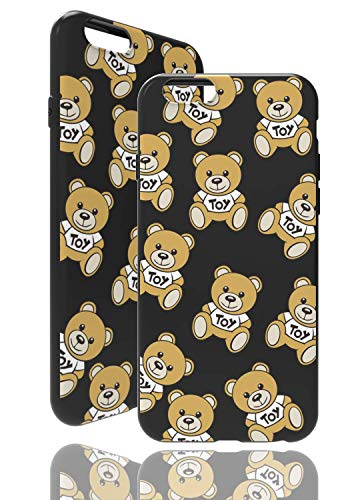 Carcasa para Apple iPhone 6/6S, diseño de oso de peluche, color negro, funda de TPU suave
