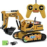 Excavator Toy Remote Control Excavator RC Construction Vehicle 4 Channels 2.4G Full Function Digger Toy Metal Shovel Simulation Sound and Flashing Lights for Kids 3-8 Year Old