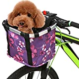 Lixada Cesta de Bicicleta Plegable con Estampado de Flores Cesta Delantera Desmontable para Manillar de Bicicleta