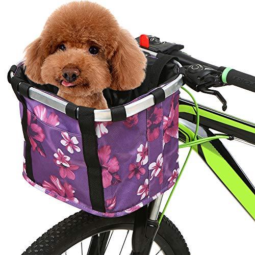Leeofty Cesta de Bicicleta Plegable con Estampado de Flores, pequeña Mascota, Gato, Perro, Bolsa de Transporte, Manillar de Bicicleta Desmontable, Cesta Delantera, Bolso Delantero de Ciclismo, Bolso