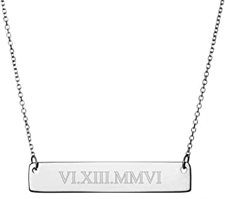 Sterling Silver Custom Roman Numeral Bar Necklace (16 inches)