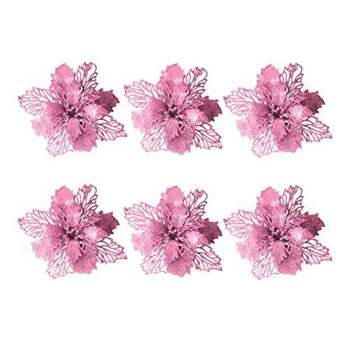 Vosarea 6 Stück Weihnachtskugeln künstliche Pailletten Hochzeit Weihnachten Baumkrone Dekoration (Rosa)