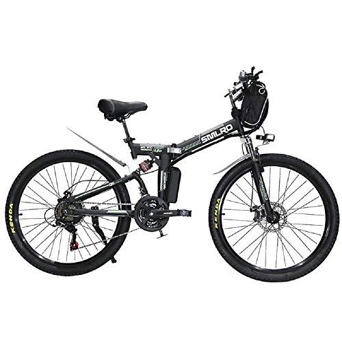H&J Mountain Bike Pieghevole elettrica 21 velocità 48V15AH Altoparlante Pieghevole Elettrico per Scooter Elettrico Integrato fari a LED velocità Massima 25 km/h (24 Pollici / 26 Pollici),Verde,24inch