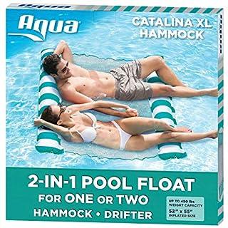 Aqua Catalina XL Hammock, 4-in-1 Multi-Purpose Inflatable 1-2 Person Pool Float, Water Lounge, Teal/White Stripe (B076TG3PCG) | Amazon price tracker / tracking, Amazon price history charts, Amazon price watches, Amazon price drop alerts