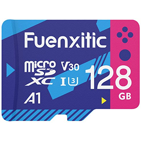 Fuenxitic 128GB MicroSD Karte mit Adapter, U3 MicroSDXC-Karte zum Nintendo Switch, V30-Speicherkarte zum Gopro Held 7 Held 8 Android Smartphone Digitalkamera Tablette und DJI Drone