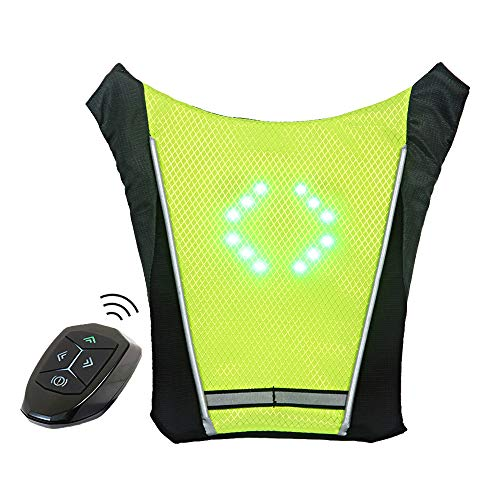 ECEEN LED Turn Signal Vest Bike Pack Guiding Light Reflective Luminous Safety Warning Direction Backpack with Remote Controller for Night Cycling Running Walking Hiking Bag (Signal Vest - Green)