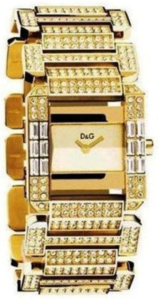 Dolce & gabbana, orologio per donna, in acciaio inossidabile placcato oro con pietre incastonate DW0220