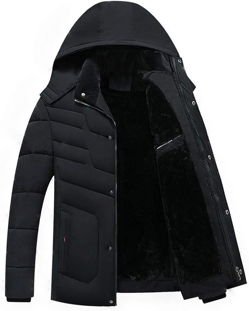 Down Jacket Men Puffer Coat NRUTUP Winter Coats Fleece Lined Jacket Warm Parka Jacket Hooded Jacket Overcoat