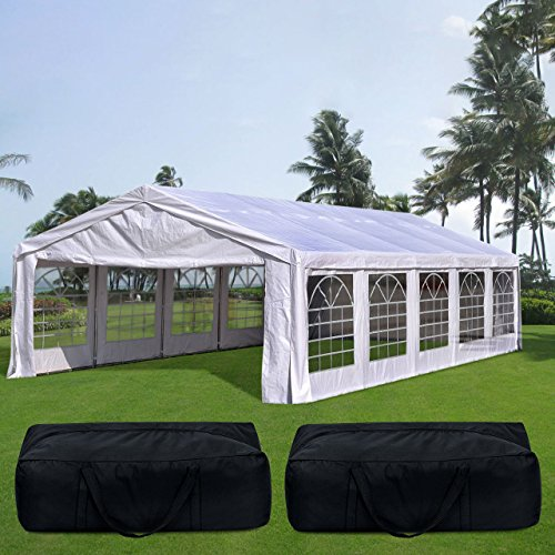 Quictent 32' x 20' Upgraded Galvanized Heavy Duty Outdoor Carport Party Tent Wedding Shelter Canopy with 5 Carry Bags