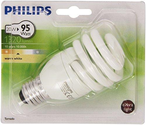 Philips–929689114902Leuchtmittel Kompaktleuchtstofflampe Spirale–Sockel E27–20Watt Verbrauch–entspricht Glühlampe: 92W