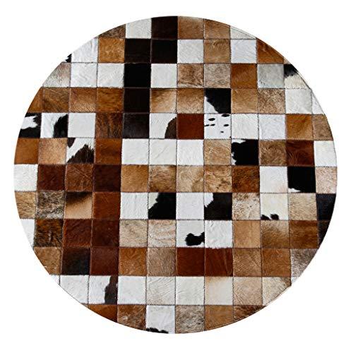 Große Runde Kuhfell Teppiche Patchwork Braun kuhfell Decke Deko Kuhhaut Teppiche for Wohnzimmer Schlafzimmer Kinder-Zimmer Modern Design Home Decor