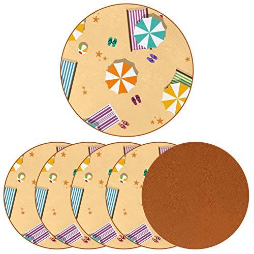 BENNIGIRY Sombrilla de Playa de Verano Posavasos de Cuero Tapetes Redondos Resistentes al Calor para Tazas Taza de café Tapetes Individuales para Tazas de Vidrio, 6 Piezas