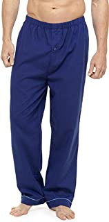 Walter Grange Mens Soft Feel Pyjama Bottoms with Button Fly (Pack of 2) - Blue-Navy - M