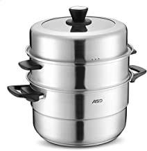 XMDD Steamer 304 Stainless Steel 3 Layer Double Bottom Thickening Household Three-layer Multi-layer Steamer Pot (Color : M...