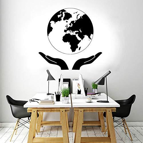 SLQUIET Anpassbare schützen die Erde Natur Aufkleber Globus Weltkarte Weltkarte Aufkleber Dekoration Büro Studio Wandbild kreative Aufkleber Pink 58x57cm