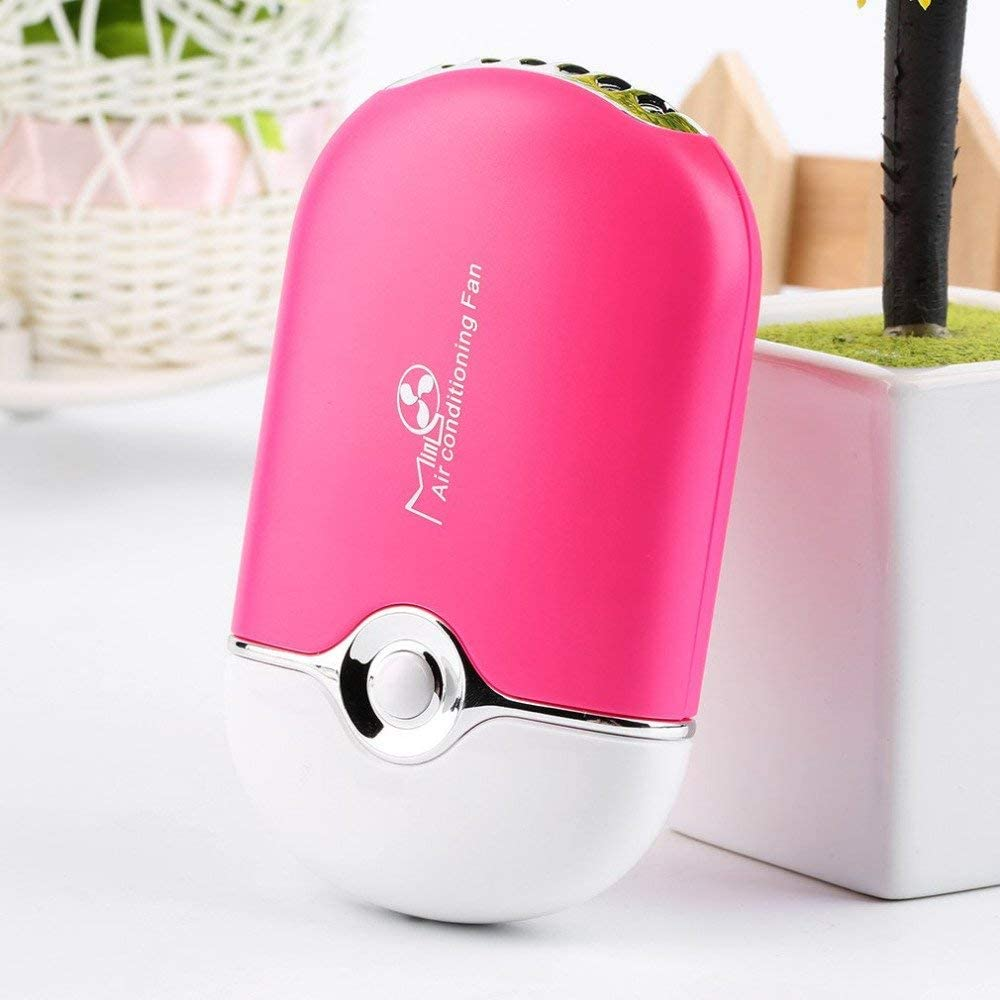 Portable Rechargeable Electric Bladeless USB Mini Air Conditioning Refrigeration Blower Dryer Fan for Eyelash Extension (PINK 1)