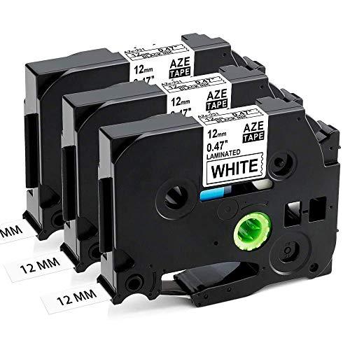 Aken kompatibel Schriftband als Ersatz für Brother P touch TZe-231 TZe231 TZ-231 Tze 12mm Laminiertes Schriftband schwarz weiß- Für Beschriftungsgerät P-touch H110 H105 1000 1005 1280 D400 Cube