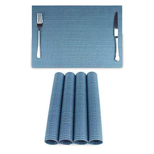 Jiaer Sentai 4er Set Platzsets Hitzebeständiges rutschfestes Antifouling waschbares PVC Tischset für Küche, Zuhause und Restaurant Blau