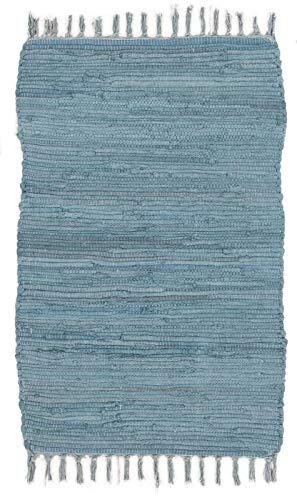 ABC Italia Italia Fleckerlteppich Läufer Reine Baumwolle 30C In Waschmaschine Waschbar , Blau, 60 x 200 cm