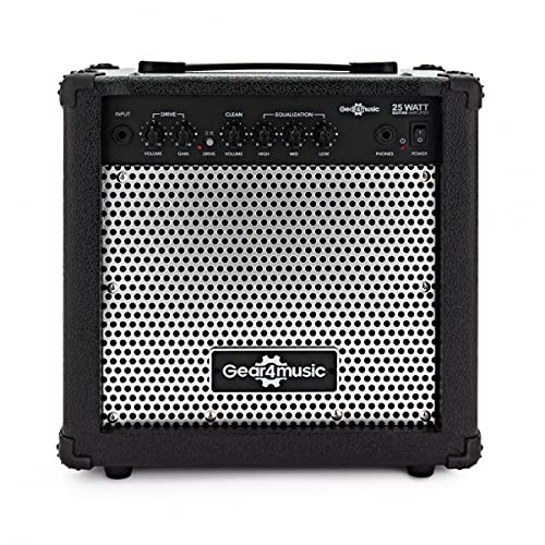 """Electric Guitar Practice Amp 25W by Gear4music 8"""" Speaker 3-Band EQ"""
