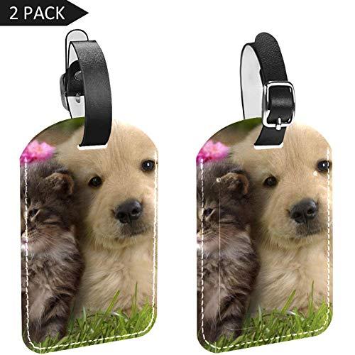 LORVIES Baby Hond met Kat Bagage Tags Reizen Labels Tag Naam Kaarthouder voor Bagage Koffer Tas Rugzakken, 2 PCS