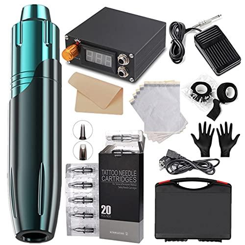 GJCrafts Kit de máquina de Tatuaje rotativa con 20 Cartuchos de Agujas y Todos los Accesorios, Rotary Tattoo Pen Machine para Artistas del Tatuaje y Amantes del Tatuaje