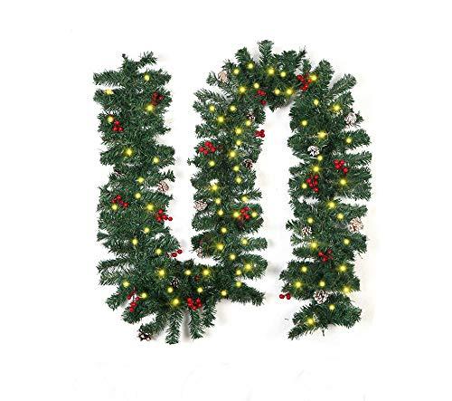 EKUPUZ Ghirlanda di Natale 2.7 m Con Luce/Senza Luci Natale Rattan Ghirlanda Famiglia Hotel Natale Porta Anteriore Decorazioni