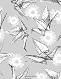 """Dotted Grid: Origami white paper cranes set sketch Seamless Notebook Dotted Grid 100 pages (8.5"""" x 11"""" Large Size)"""