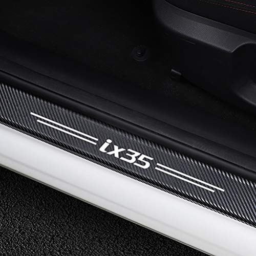 NTUOO 4Pcs Auto Schwellen Aufkleber Kohlefaser Einstiegsleisten, für Hyundai IX35 Türschweller Stoßstangen Trittbrett Kratzer Lackschutzfolie, Car Styling Zubehör