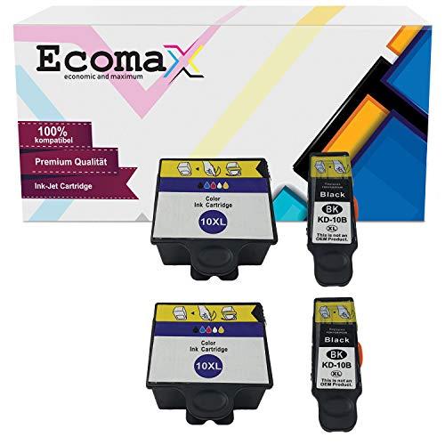 Ecomax 4 XL Druckerpatronen kompatibel zu Kodak 10 (10B + 10C) für Kodak ESP 3 ESP 5 ESP 7 ESP 9, Easyshare 5300 5500 ESP 3250 5250 7250 9250, Hero 7.1 Hero 9.1 Hero Office 6.1