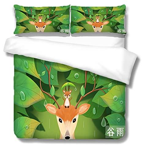 Funda de edredón grande de poliéster con estampado de alce y funda de almohada de cama individual cama doble 3Or2 piezas set multi-tamaño 200 × 229 cm (3 piezas) Elk print
