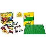Lego Classic Scatola Di Mattoncini Creativi, Gamma Vasta Di Ruote E Mix Colorati, Con Forme Speciali, 442 Pezzi, Multicolore, 10715 & Classic, Base Verde, 10700