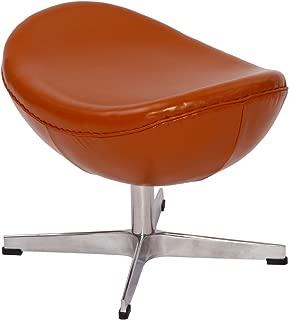 MLF Arne Jacobsen Egg Chair's Ottoman (4 Colors). Premium Aniline Leather & Hand Sewing. High Density Foam. 4 Star Satin Polished Aluminum Base. Strong Fiberglass Inner Shell.(Light Brown)