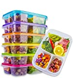 Yelocota Meal Prep Containers,Bento Lunch Box,Reusable 3-Compartment Easy Open Safe Plastic Divided Food Storage Container Boxes for Kids Children Adults,Microwave,Dishwasher and Freezer(6 Pcs)