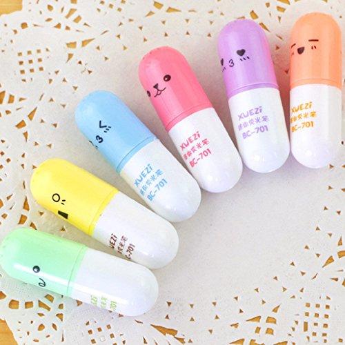 Autone 6-teiliges Mini-Textmarker-Set mit Markierstiften in Pillenform, zum Schreiben, Marker mit süßen Gesichtern, Stifte, koreanische Schreibwaren, Schulbedarf Pill