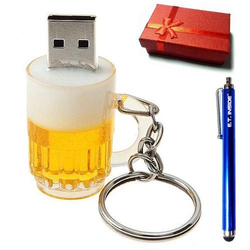 E.T. INSIDE Bier Glas Vorm USB Flash Drive in Geschenkdoos Merk Stylus, 16GB
