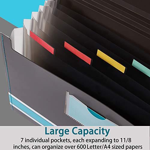 Sooez Expanding File Folder Paper Organizer with Sticky Labels, 7 Pockets File Organizer Accordion File Organizer, Letter/A4 Paper/Document Folder Organizer, File Organizer File Holder, Lime Green Photo #7