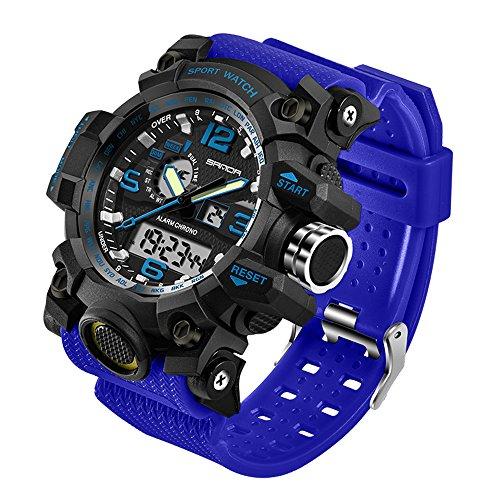 Taffstyle Herren-Armbanduhr Digital mit Silikon-Armband Chronographen Wasserdicht Stopp Alarm Flieger Piloten Uhr Sportuhr Quarz Blau