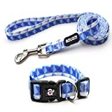 azuza Dog Collar and Leash Set, Adjustable Nylon Collar with Matching Leash, Blue Prism for Extra Small Dogs