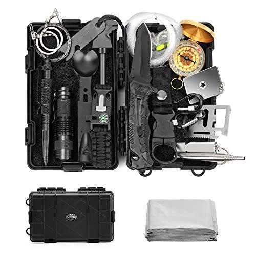 Homtiky survival kit 18 in 1 Außen Notfall survival ausrüstung Sicherheitsausrüstung mit Erste-Hilfe-Kit für Reiseabenteuer Wandern Camping Jagen Outdoor Abenteuer