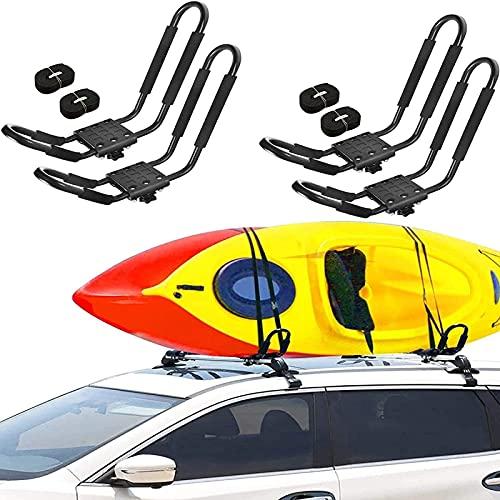NGLSCXR 2 pares de perturba pesada KAYAK RACK Universal HD Marine KAYAK Portador de kayak incluye 4 PCS Ratchet Tie-Mount en la barra transversal del techo de automóviles para kayaks, canoa, tablas de