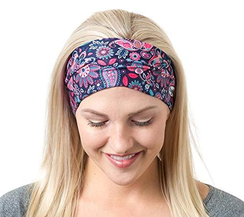 RiptGear Wide Headbands for Women - Workout Headbands for Yoga Running and Gym - Cute Thick Non-Slip Sweatbands - Hippie Flower