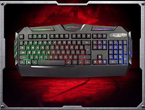 BB67 K3 USB Keyboard Wired, Illuminated Colorful LED Backlight Multimedia PC Gaming Keyboard, Console Game Online Game Best Matched Keyboard