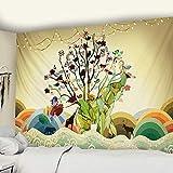 WERT Tapisserie d'éléphant de Perle colorée 3D mosaïque Style Hippie Boho Style Tapisserie Mandala Fond Tissu Tapisserie A2 150x200 cm