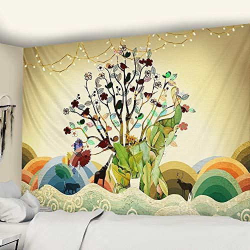 WERT Tapiz de Elefante de Perlas de Colores Estilo de Mosaico 3D Hippie Boho Tapiz de Estilo Mandala Tapiz de Tela de Fondo A2 100x150cm