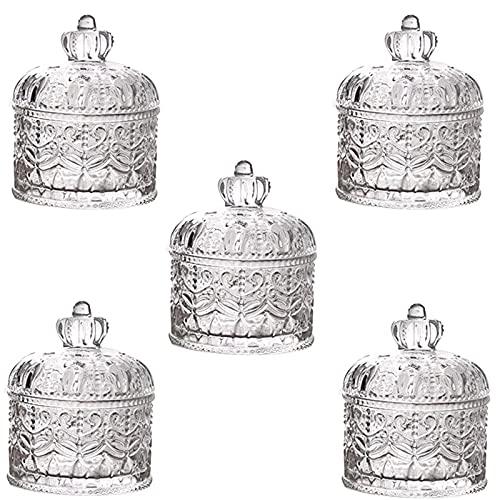 Batchelo 5 tarros de cristal con tapas, reutilizables, sellados, AirTight, retro en relieve, molduras de corona, para almacenar frutas secas, nueces, caramelos