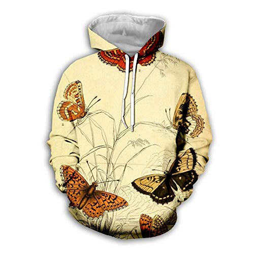 yyqx container 3D Sweatshirt Hoodie Vlinder 3D Bedrukte Losse Truien met Trekkoord Mode Voorste Pakket Lange Mouwen Koppels Zachte Hoodies Sweatshirts