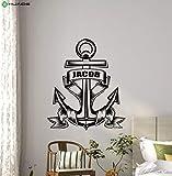 Tianpengyuanshuai Etiqueta de la Pared de Vinilo Personalizado Ancla Seaman niño náutico Nombre Personalizado Etiqueta de la Pared Cartel Mural para niños guardería 57x48cm