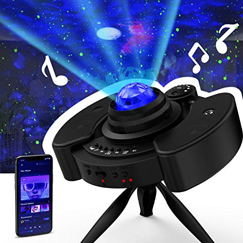 GLOUE Pro Star Projector Night Light Galaxy Sky Lite with Bluetooth Music Speaker Nightlight Mood for Bedroom, Home Theater, Game Rooms or Party Decoration, Gifts for Kids