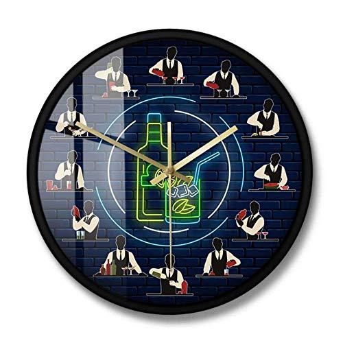 LISH Reloj Decorativo Camarero Prepara Cócteles Barman en el Trabajo Profesión Pared Reloj Pub Barra de Pared Decoración Decoración de Vino Club de Vino Tapiner Colgando Reloj de Pa